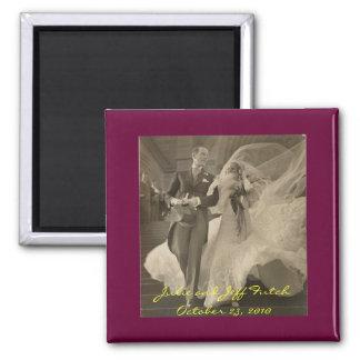 ímã da vintage-casamento-foto ímã quadrado
