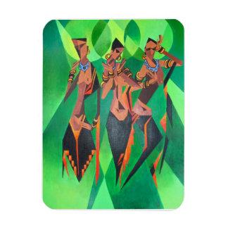 Ímã Dança tradicional étnica de três mulheres negras