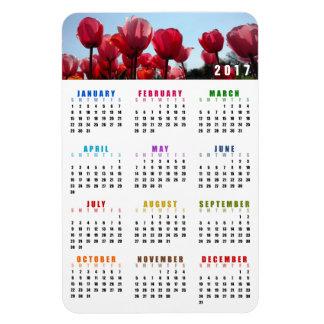Ímã de 2017 calendários - jardim cor-de-rosa das