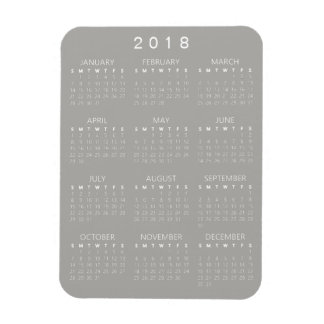 Ímã de 2018 calendários - luz - cinzas