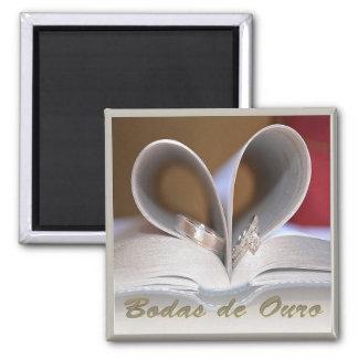 Ímã de anéis português do aniversário de casamento ímã quadrado