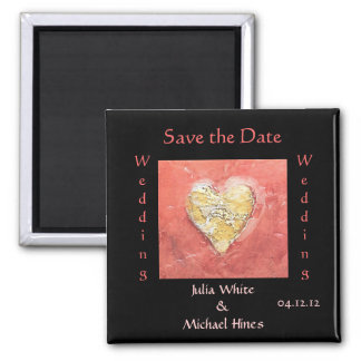 Ímã de cristal do casamento do coração ímã quadrado