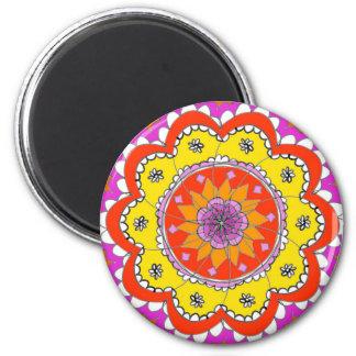 Imã de geladeira colorida da flor da mandala