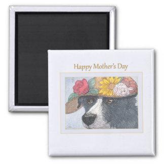 Imã de geladeira do dia das mães - Sheepdog em um