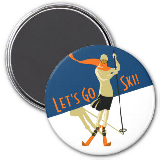 Imã Deixe-nos ir esqui! Esquiadores do design do