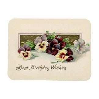 Ímã Desejos do aniversário dos Pansies do vintage