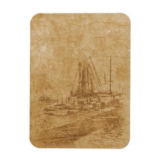 Ímã Desenho do yacht club no estilo do vintage