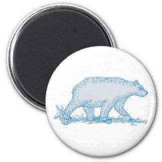 Imã Desenho lateral de passeio do urso polar