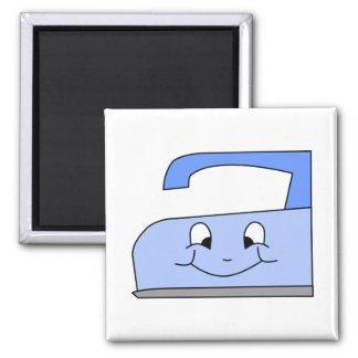 Imã Desenhos animados azuis do ferro. No branco