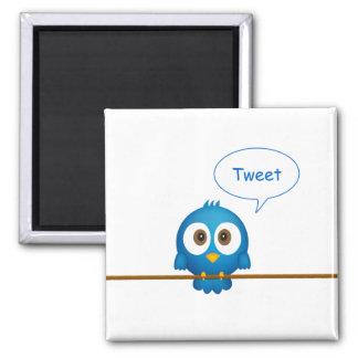 Imã Desenhos animados azuis do pássaro do twitter