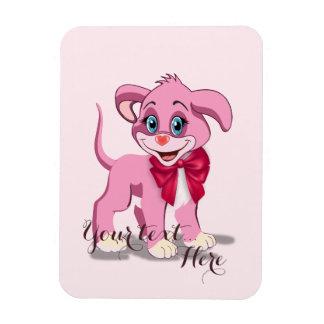 Ímã Desenhos animados do filhote de cachorro do rosa