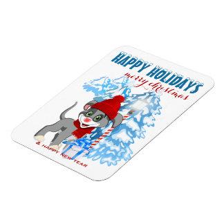 Ímã Desenhos animados do Natal do filhote de cachorro