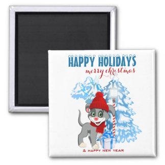 Imã Desenhos animados do Natal do filhote de cachorro