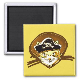 Imã desenhos animados doces do ouro do gato do pirata