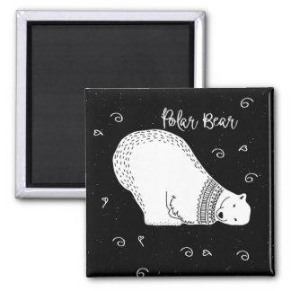 Imã Design bonito do urso polar em preto e branco