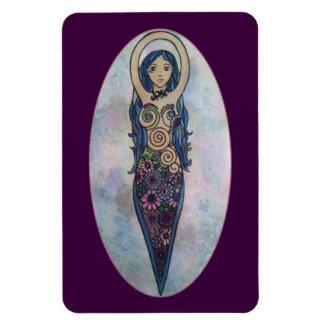 Ímã Deusa espiral floral azul