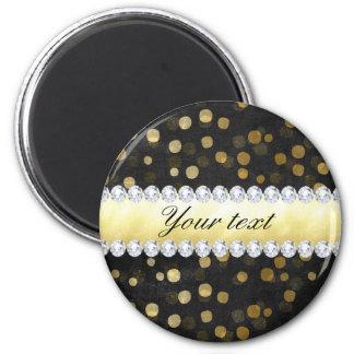 Imã Diamantes pretos dos confetes do ouro do quadro