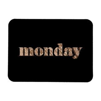 Ímã Dias pretos do ouro da tipografia de segunda-feira