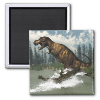 Imã Dinossauro do rex do tiranossauro atacado pelo