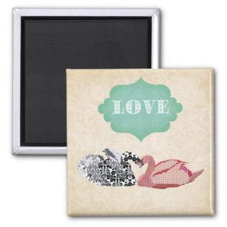 Ímã do amor da cisne ímã quadrado