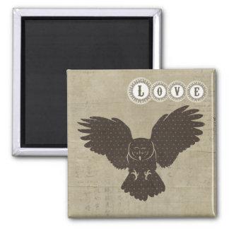 Ímã do amor da silhueta da coruja imã de geladeira