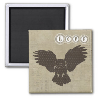 Ímã do amor da silhueta da coruja ímã quadrado
