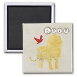 Ímã do amor da silhueta do leão ímã quadrado