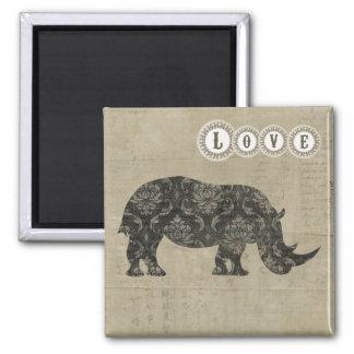 Ímã do amor da silhueta dos rinocerontes ímã quadrado