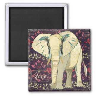 Ímã do amor do elefante branco ímã quadrado