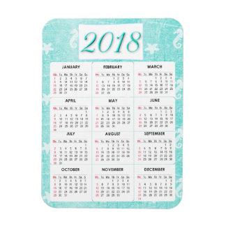 Ímã do calendário do branco e do abstrato 2018 da
