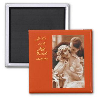 ímã do casamento da foto do vintage ímã quadrado