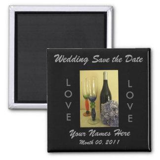 Ímã do casamento do tema do vinho ímã quadrado