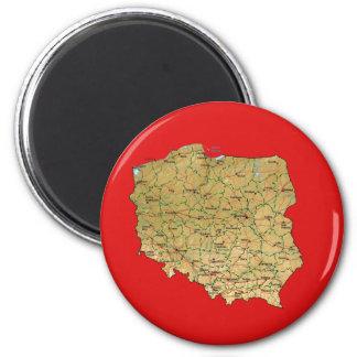 Ímã do mapa do Polônia Ímã Redondo 5.08cm