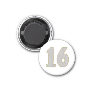 Ímã do número 16 na prata e no ouro ímã redondo 2.54cm