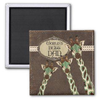 Ímã do pai do mundo dos girafas da cerceta & do co ímã quadrado