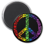 Ímã do sinal de paz dos corações do arco-íris imãs