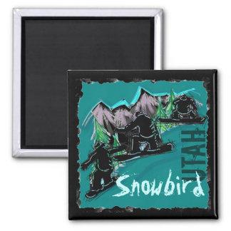 Ímã do snowboard de Utá do Snowbird Ímã Quadrado