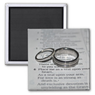 Ímã do verso da bíblia das alianças de casamento ímã quadrado
