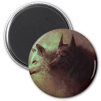 Imã dois lobos - lobo da pintura
