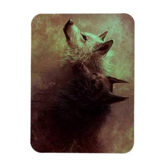 Ímã dois lobos - lobo da pintura