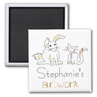 Ímã dos trabalhos de arte das crianças ímã quadrado
