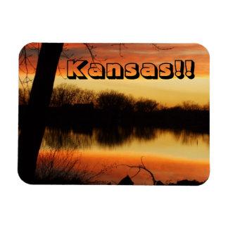 Ímã dourado da reflexão do por do sol de Kansas!!