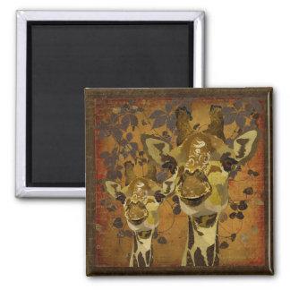 Ímã dourado das videiras dos girafas do damasco imãs de refrigerador