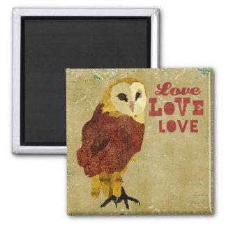 Ímã dourado do amor da coruja do rubi ímã quadrado