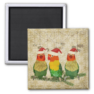 Ímã dourado do Natal de três pássaros Imãs De Geladeira