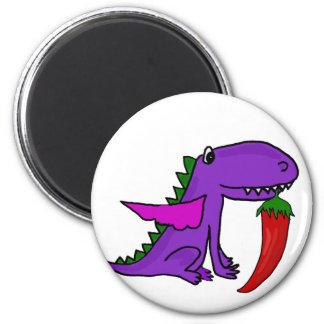 Imã Dragão roxo engraçado que come desenhos animados