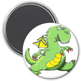 Imã Dragão verde dos desenhos animados que anda em