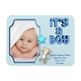 Ímã É um menino com foto, informação e urso do bebê