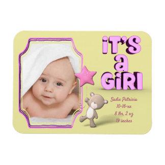 Ímã É uma menina com foto, informação e urso do bebê
