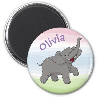 Imã Elefante cinzento feliz ímã personalizado